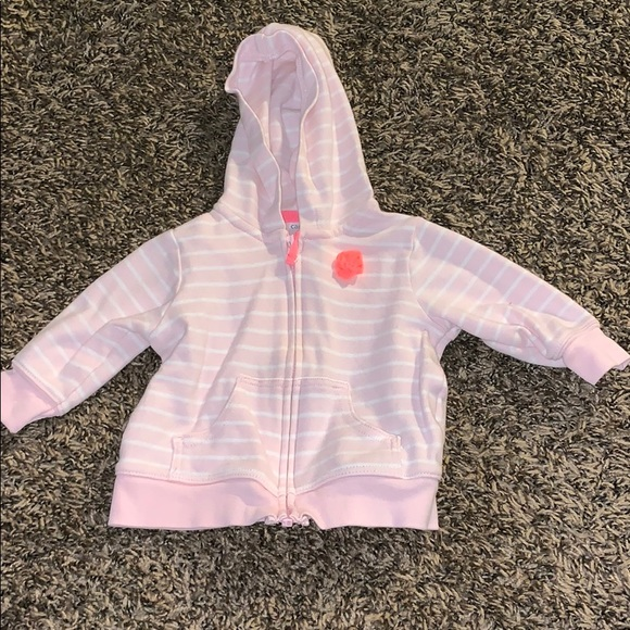 Carter's Other - White and Pink striped baby girl zip up sweatshirt